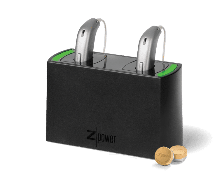 Hearing aids in a charging cradle
