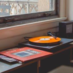 A retro vinyl record player.